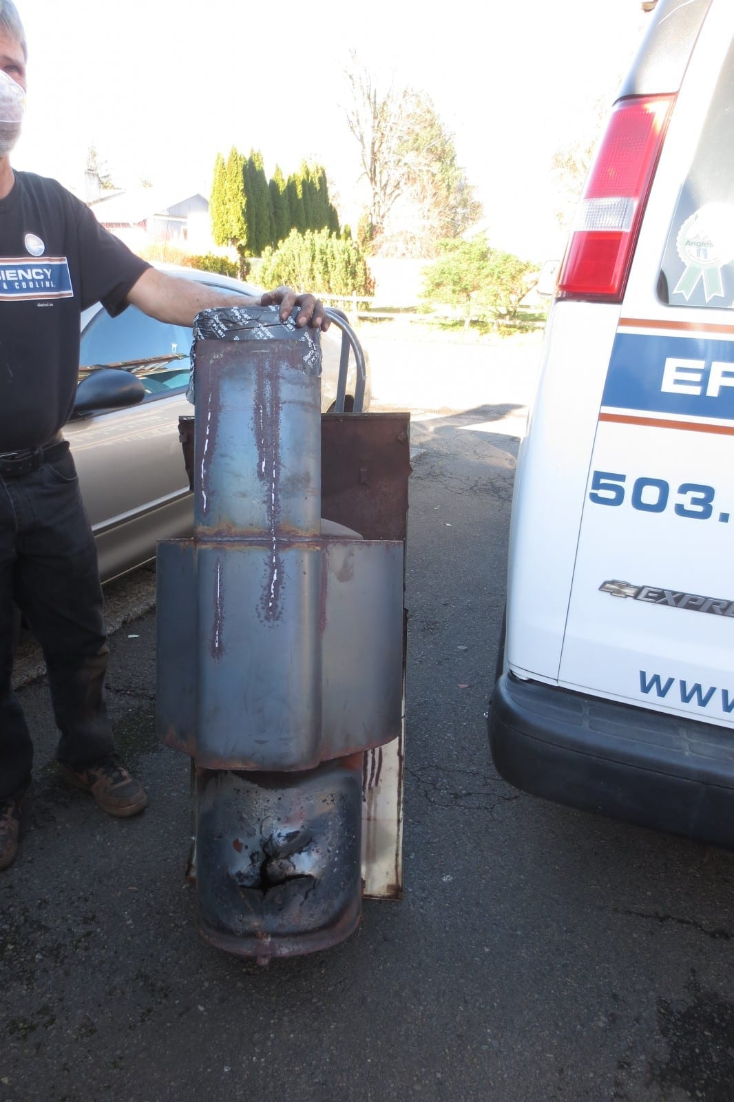 found cracked heat exchanger from an oil furnace in se portland